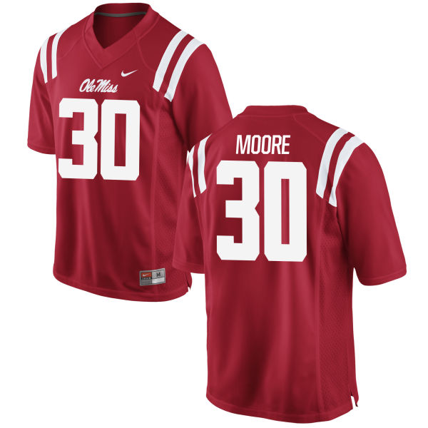 Youth Nike A.J. Moore Ole Miss Rebels Game Red Football Jersey