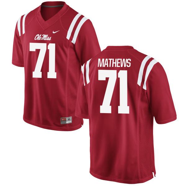 Men's Nike Bryce Mathews Ole Miss Rebels Game Red Football Jersey