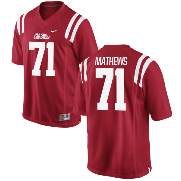 Youth Nike Bryce Mathews Ole Miss Rebels Game Red Football Jersey