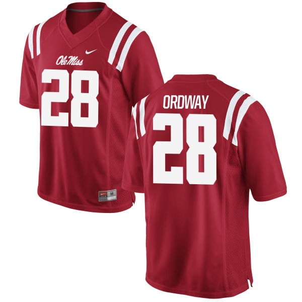 Men's Nike Cam Ordway Ole Miss Rebels Game Red Football Jersey