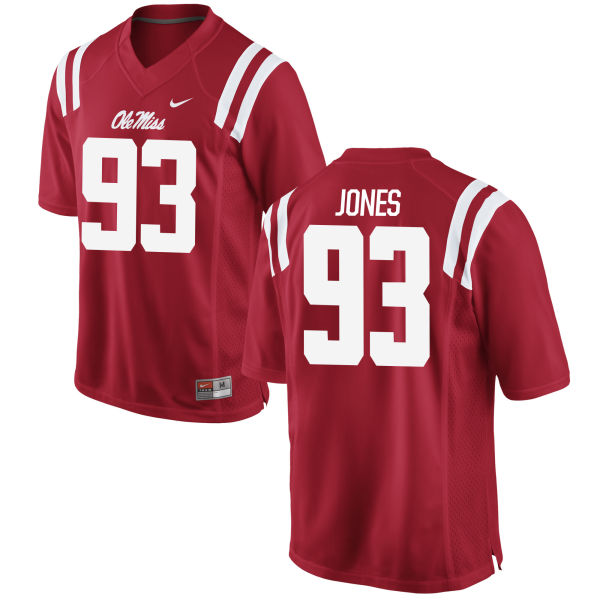 Men's Nike D.J. Jones Ole Miss Rebels Game Red Football Jersey