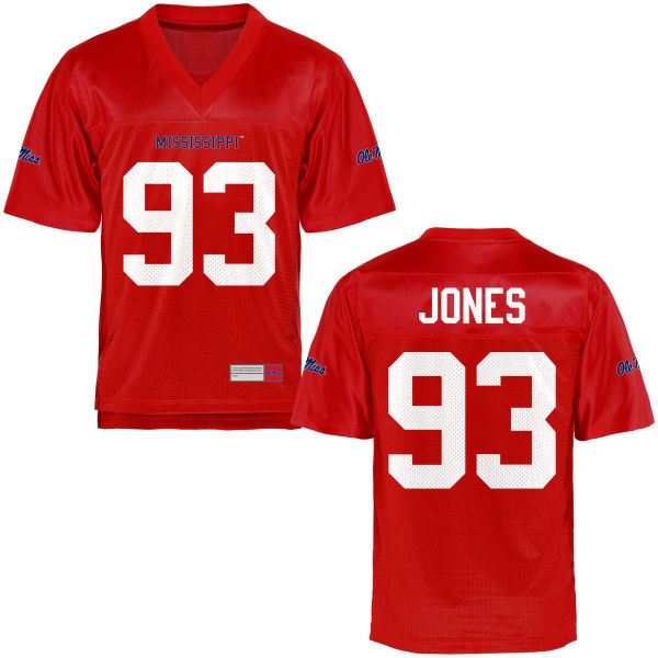 Youth D.J. Jones Ole Miss Rebels Game Football Jersey Cardinal