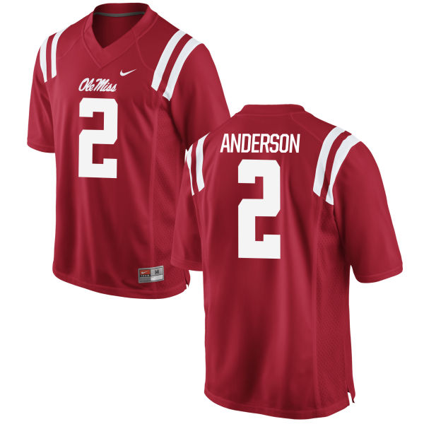 Men's Nike Deontay Anderson Ole Miss Rebels Game Red Football Jersey