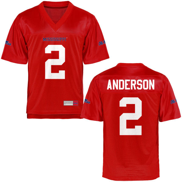 Youth Deontay Anderson Ole Miss Rebels Game Football Jersey Cardinal