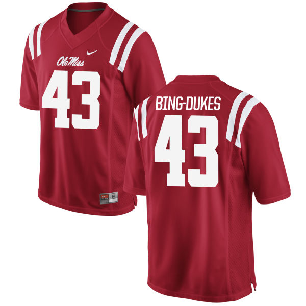 Men's Nike Detric Bing-Dukes Ole Miss Rebels Game Red Football Jersey