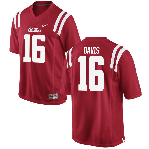 Men's Nike Drew Davis Ole Miss Rebels Authentic Red Football Jersey