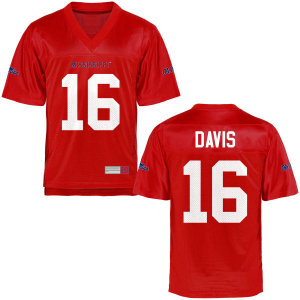 Youth Drew Davis Ole Miss Rebels Game Football Jersey Cardinal