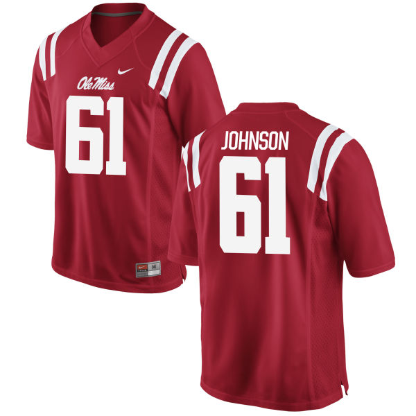 Men's Nike Eli Johnson Ole Miss Rebels Game Red Football Jersey