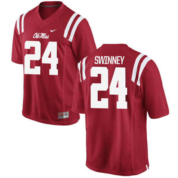Men's Nike Eric Swinney Ole Miss Rebels Authentic Red Football Jersey