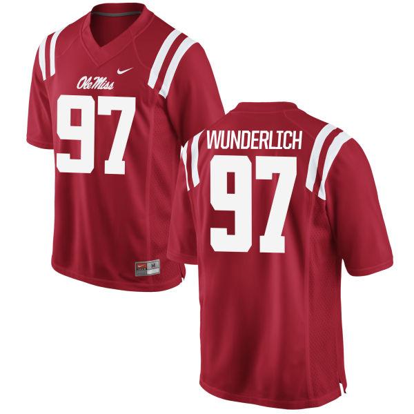 Men's Nike Gary Wunderlich Ole Miss Rebels Replica Red Football Jersey