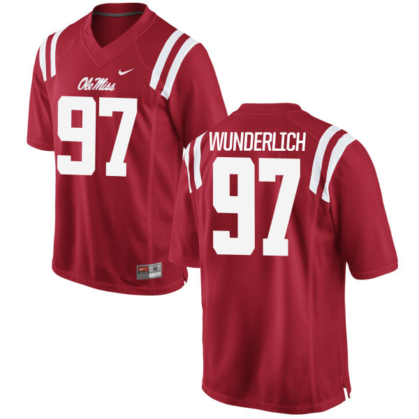 Youth Nike Gary Wunderlich Ole Miss Rebels Game Red Football Jersey