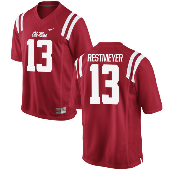 Men's Nike Grant Restmeyer Ole Miss Rebels Game Red Football Jersey