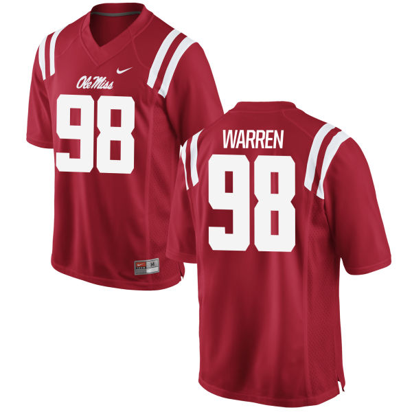 Men's Nike Grant Warren Ole Miss Rebels Game Red Football Jersey