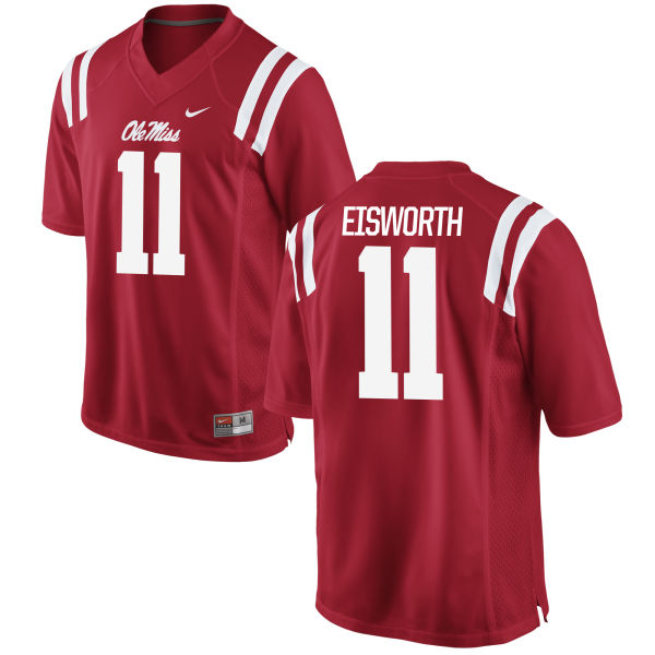 Men's Nike Greg Eisworth Ole Miss Rebels Game Red Football Jersey