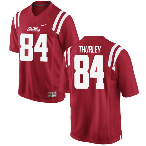 Men's Nike Hunter Thurley Ole Miss Rebels Authentic Red Football Jersey