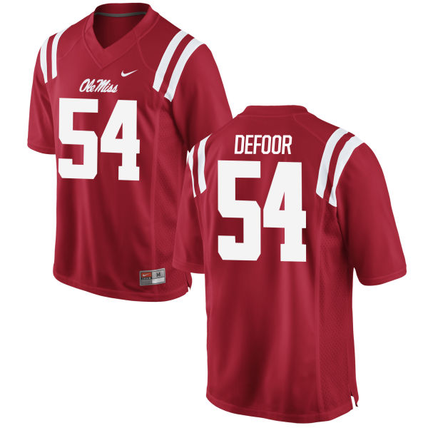 Men's Nike Jack DeFoor Ole Miss Rebels Game Red Football Jersey
