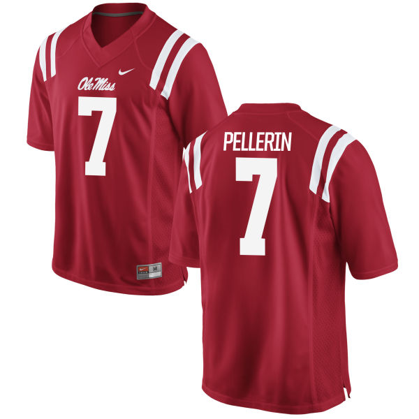 Men's Nike Jason Pellerin Ole Miss Rebels Game Red Football Jersey