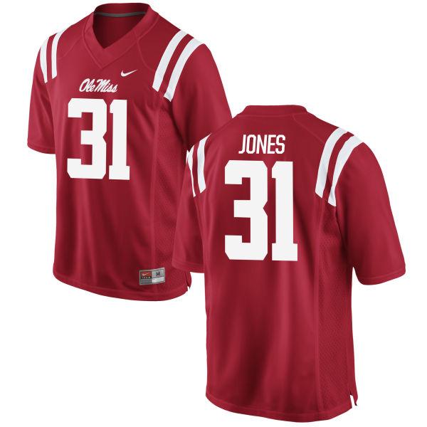 Men's Nike Jaylon Jones Ole Miss Rebels Game Red Football Jersey