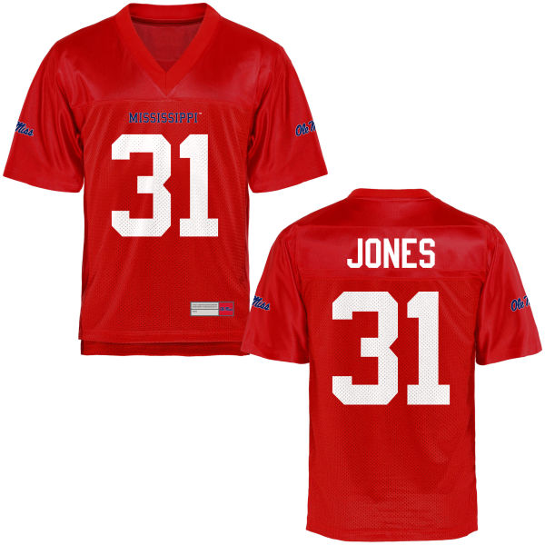 Youth Jaylon Jones Ole Miss Rebels Game Football Jersey Cardinal