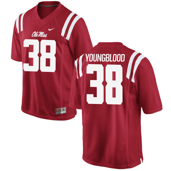 Men's Nike John Youngblood Ole Miss Rebels Authentic Red Football Jersey
