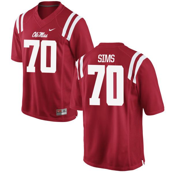 Men's Nike Jordan Sims Ole Miss Rebels Game Red Football Jersey
