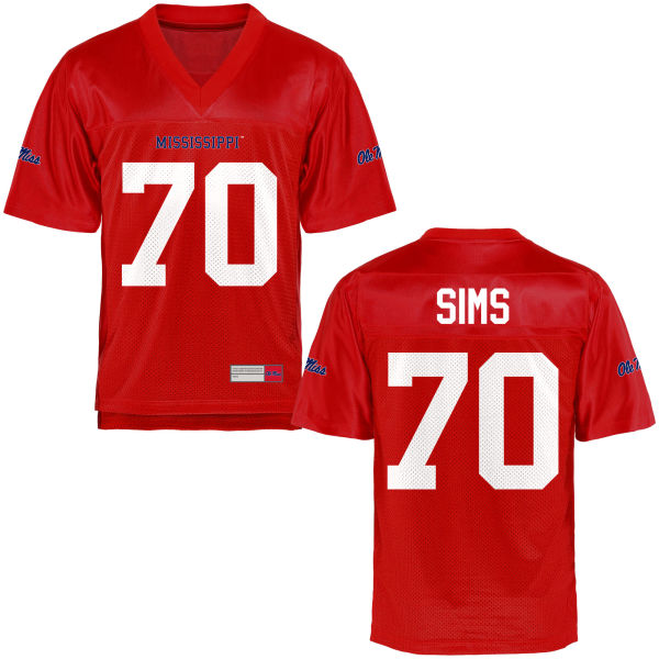 Youth Jordan Sims Ole Miss Rebels Game Football Jersey Cardinal