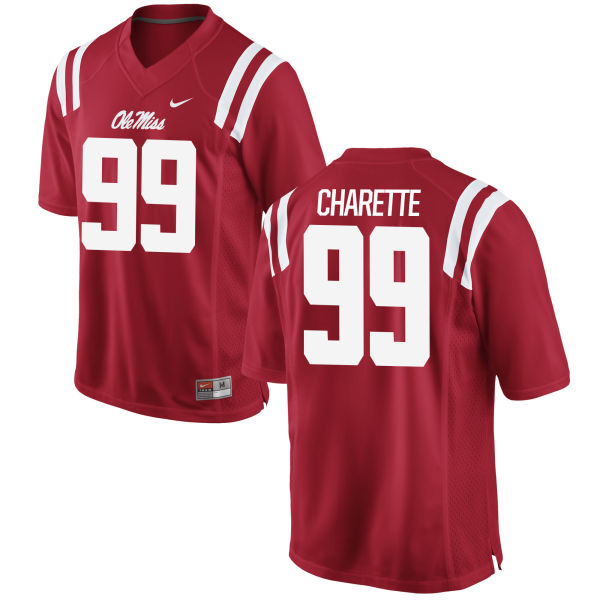 Men's Nike Justin Charette Ole Miss Rebels Game Red Football Jersey