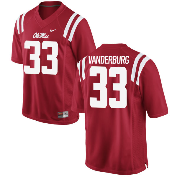 Youth Nike Nathan Vanderburg Ole Miss Rebels Game Red Football Jersey