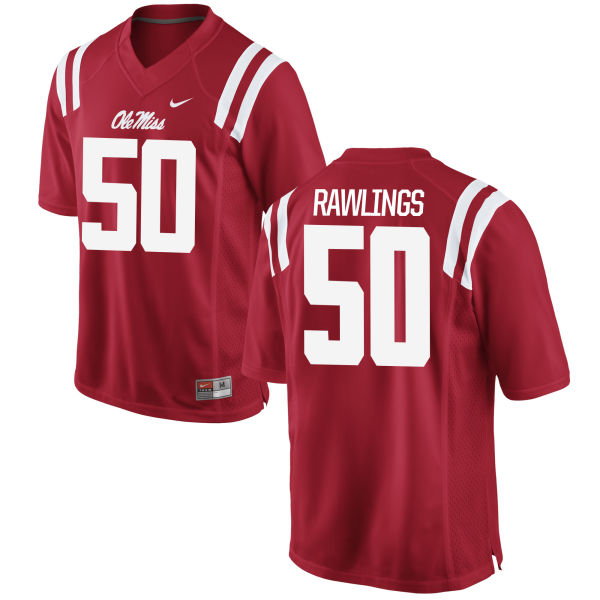 Men's Nike Sean Rawlings Ole Miss Rebels Game Red Football Jersey