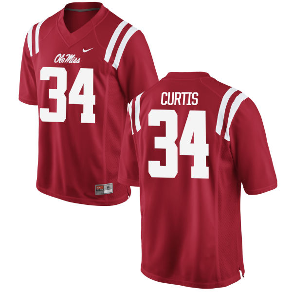 Men's Nike Shawn Curtis Ole Miss Rebels Game Red Football Jersey