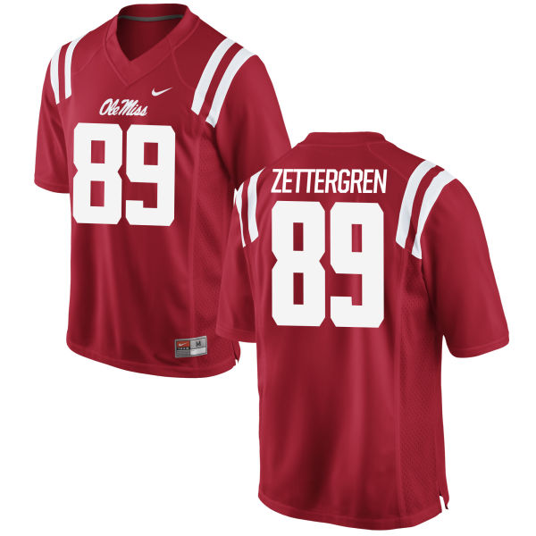 Men's Nike Taz Zettergren Ole Miss Rebels Game Red Football Jersey