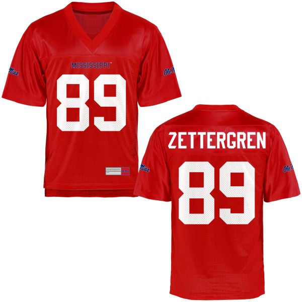 Youth Taz Zettergren Ole Miss Rebels Game Football Jersey Cardinal