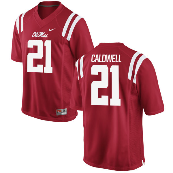 Men's Nike Terry Caldwell Ole Miss Rebels Game Red Football Jersey