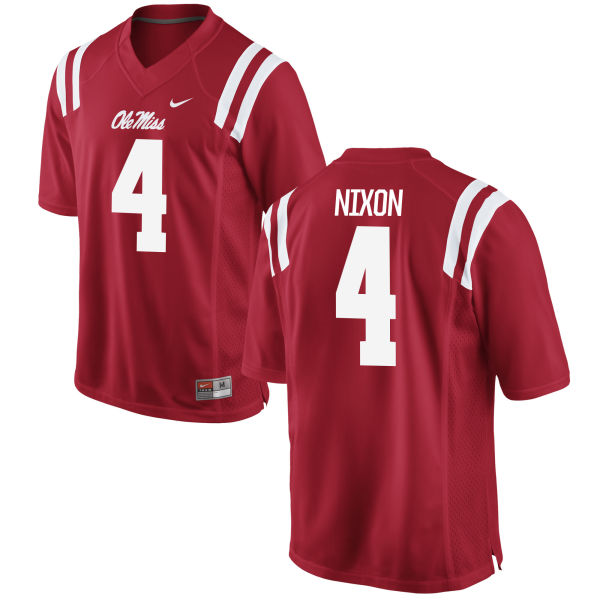 Men's Nike Tre Nixon Ole Miss Rebels Game Red Football Jersey