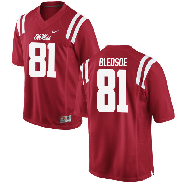 Youth Nike Trey Bledsoe Ole Miss Rebels Game Red Football Jersey
