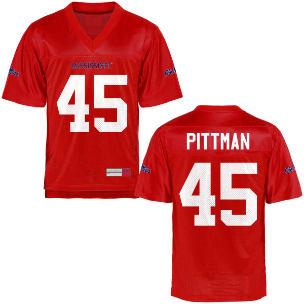 Youth Tyler Pittman Ole Miss Rebels Game Football Jersey Cardinal