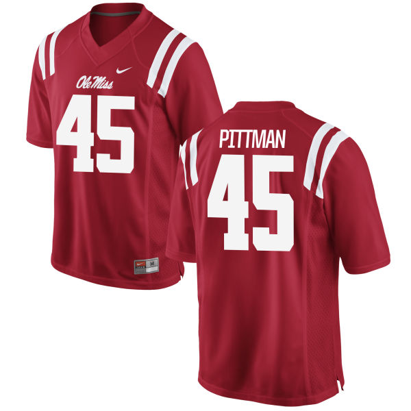 Youth Nike Tyler Pittman Ole Miss Rebels Game Red Football Jersey