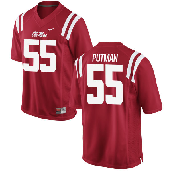 Youth Nike Tyler Putman Ole Miss Rebels Game Red Football Jersey