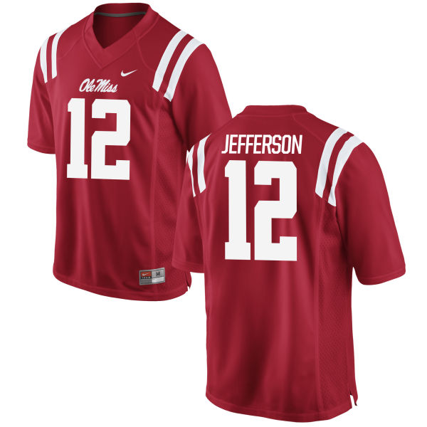 Men's Nike Van Jefferson Ole Miss Rebels Game Red Football Jersey