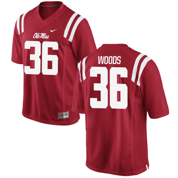 Youth Nike Zedrick Woods Ole Miss Rebels Game Red Football Jersey