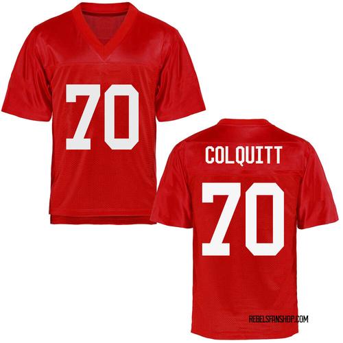 Men's Carter Colquitt Ole Miss Rebels Game Cardinal Football College Jersey