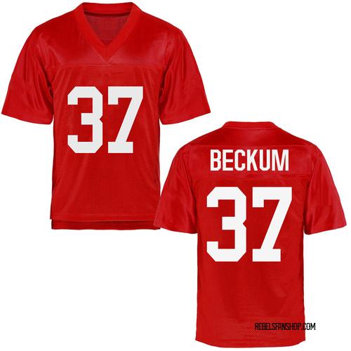 Men's David Beckum Ole Miss Rebels Game Cardinal Football College Jersey