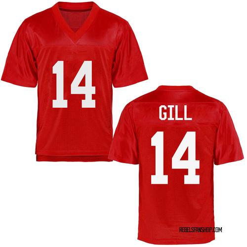 Men's Daylen Gill Ole Miss Rebels Replica Cardinal Football College Jersey