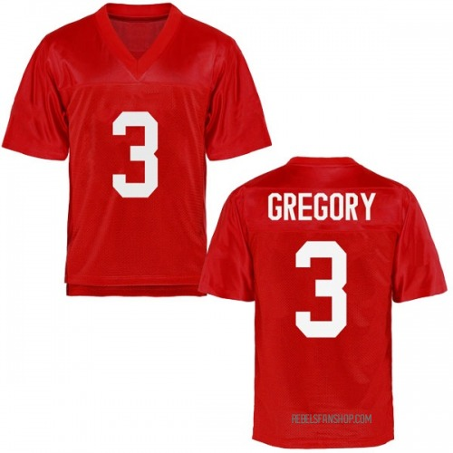 Men's DeMarcus Gregory Ole Miss Rebels Replica Cardinal Football College Jersey