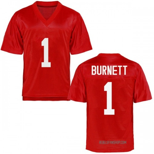 Men's Deandre Burnett Ole Miss Rebels Replica Cardinal Football College Jersey