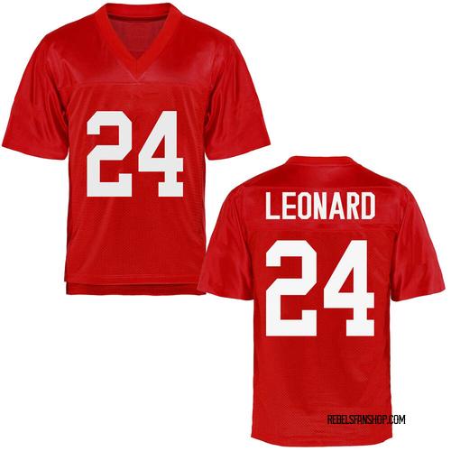 Men's Deane Leonard Ole Miss Rebels Game Cardinal Football College Jersey