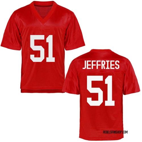 Men's Eric Jeffries Ole Miss Rebels Game Cardinal Football College Jersey
