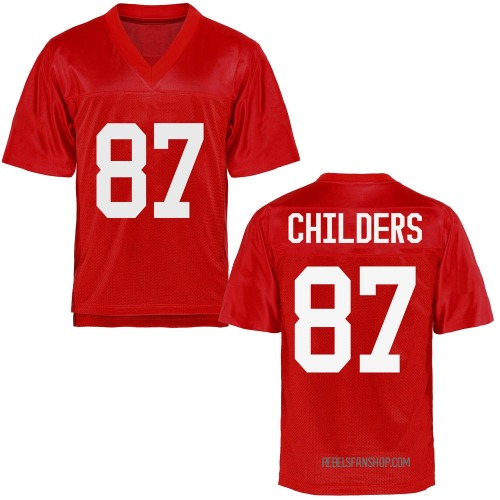 Men's Garrett Childers Ole Miss Rebels Game Cardinal Football College Jersey