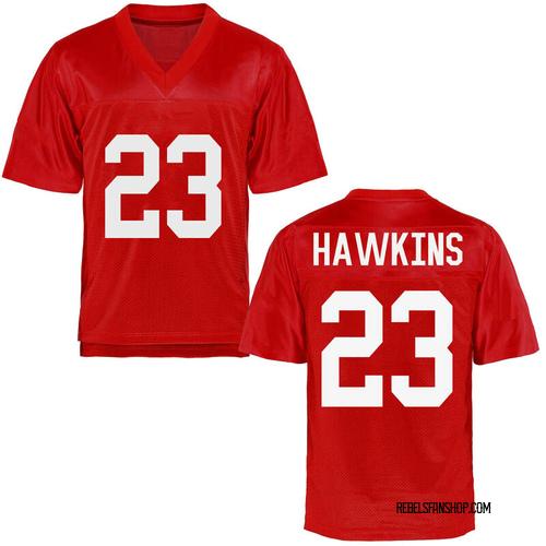 Men's Jakorey Hawkins Ole Miss Rebels Game Cardinal Football College Jersey