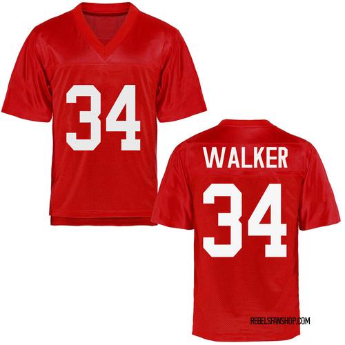 Men's Jakwaize Walker Ole Miss Rebels Game Cardinal Football College Jersey